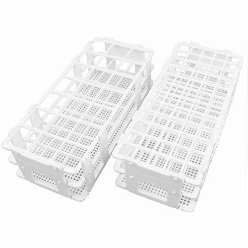 16mm Test Tube Rack Pack of 2 – Buytra Plastic Lab Test Tube Rack Holder with 60 Holes for 16mm Test Tubes, Detachable, White