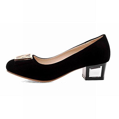 Carolbar Womens Fashion Elegance Casual Chic Archi Scarpe Basse Mocassino Con Tacco Grosso Scarpe Nere