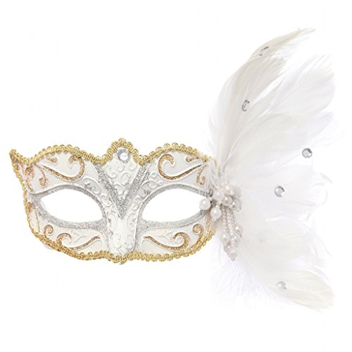 Clearbridal Women's Venetian White Masquerade Mask Feathers CMJ026WT