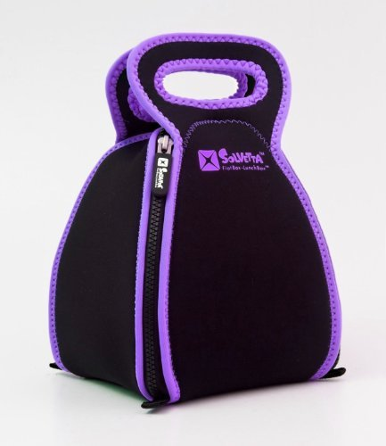 Smart Neoprene Lunch Box that Converts to a Placemat - For Kids School or Office, Machine Washable, Lightweight and Insulated! REGULAR SIZE Black / Purple by Solvetta