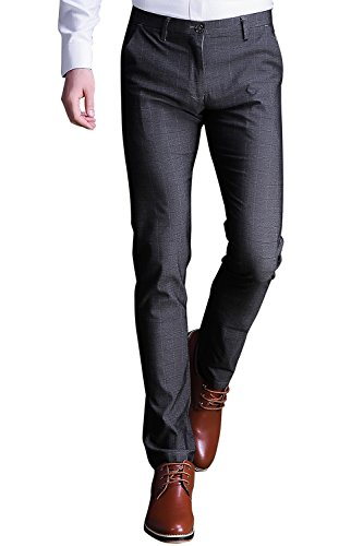 INFLATION Mens Plaid Dress Pants, Wrinkle-Free Stretch Slim Fit Elastic Suit Pants Trousers,Gray Pants Size (Plaid Twill Pant)