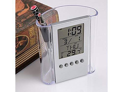 Portalápices, calendario perpetuo de escritorio, alarma, reloj, lapicero, transparente, organizador de escritorio, organizador: Amazon.es: Oficina y ...
