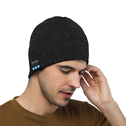 Shnmin Beanie Hat with Bluetooth for Men Women Wireless Knit Music Cap Built-in Microphone Christmas Gift (Dark gray)