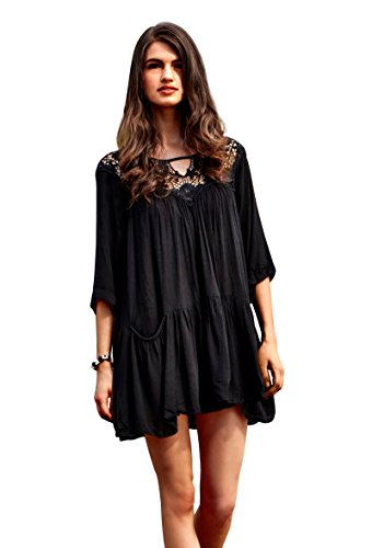 MG Collection Cotton Swimsuit Coverup / Yoke Neckline Beach Dress