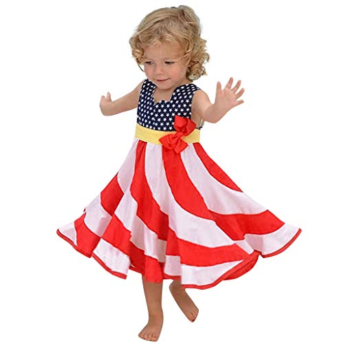 (Little Girls Dresses Classic Dot Printed Sleeveless Bow Swing Maxi Dresses American Flag Tank Dress for Toddler Baby Red)