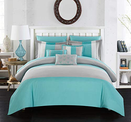 Chic Home Eyelet 10 Piece Comforter Set Color Block Ruffled Bag Bedding-Decorative Pillows Shams Included, Queen, Twin, Turquoise