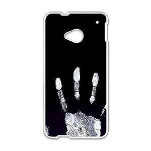 HTC One M7 Cell Phone Case White Handprint Black Lcppc