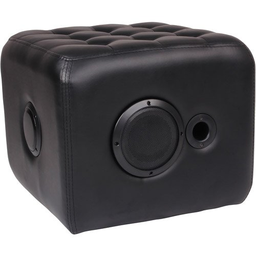 Black Sound Kube Ottoman w/ Bluetooth connection faux lather upholstery
