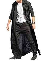 Men's Ruffle Shawl Collar Cardigan Jackets Open Front Outerwear Cotton Long Drape Cape Poncho Trench Coat
