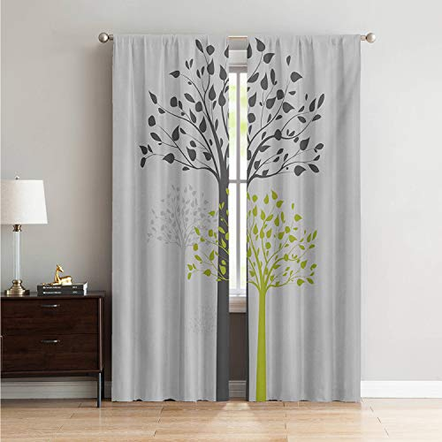 Mozenou Window Treatments Black Out Window Curtain Tree,Mother Nature Theme Fresh Trees with Leaves Pattern Ecology and Growth Theme,Pale Green White W84 x L84 Inch