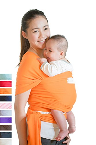 Beechtree Baby Classic Cotton Baby Wrap | Baby Carrier | 10 Colors | SOFTER and STURDIER Proprietary Fabric | Breastfeeding Sling Baby Holder | Great Baby Shower Gift - Orange