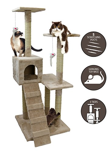 Petlo Kitty Cat Tree - 4 Foot Tall Soft Felt Carpet Climbing Kitten Play Tower and Scratcher to Play, Scratch and Rest – Three Levels with Ramps, Fort and Mouse Toys – Easy Assembly – by Carpeted Ramp