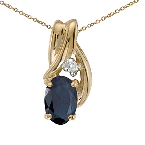 10k Yellow Gold Oval Sapphire & Diamond Pendant (Chain NOT included) P1861-09