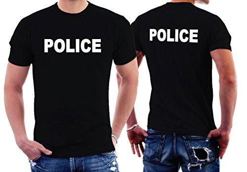 CheapRushUniform Police Officer T-Shirts Two Sides Printing, Black, Medium