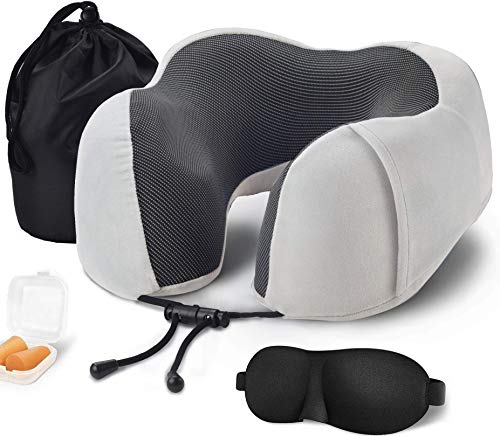 iKzan – Travel Pillow, 100% Memory Foam Neck Pillow with Carry Case, Eye Mask and Ear Plugs, Velvet Touch Comfortable…
