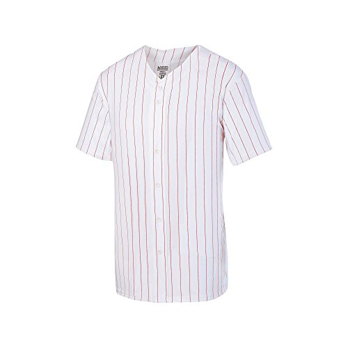 Augusta Sportswear Men's Pinstripe Full Button Baseball Jersey M -