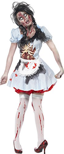 Smiffy's Women's Horror Zombie Country girl Costume, Dress with Latex Chest Piece and Apron, Zombie Alley, Halloween, Size 6-8, (Zombie Costumes Women)