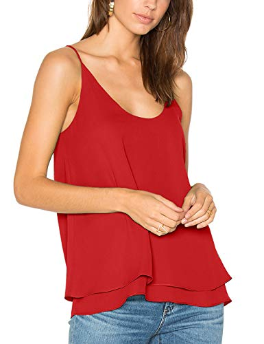 - Dohia Women's Summer Chiffon Layered Cami Tank Tops Loose Fit Casual Blouses C2714(L, Red)