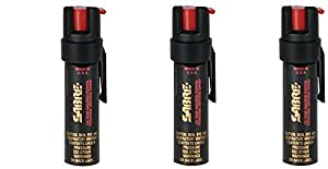 SABRE 3-IN-1 Pepper Spray - lGKeRY Advanced Police Strength - Compact Size with Clip, Contains 35 Bursts (5x Other Brands) & 10-Foot (3M) Range, 3Pack (.75-Ounce)