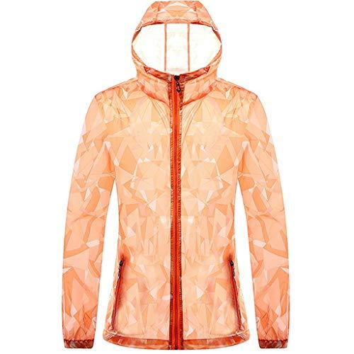 Bsjmlxg Men Printing Long Sleeve Ultra-Thin Sunscreen UV Clothing, Hooded Sweatshirt Pullover Tops Blouse Orange
