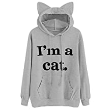 HOT SALE!Napoo Women I'm a cat Letter Print 3D Cat Ear Hooded Pocket Sweatshirt (XL=(US L), Gray)