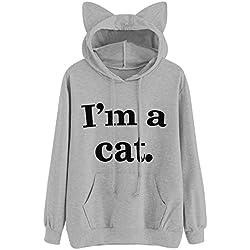 HOT SALE!Napoo Women I'm a cat Letter Print 3D Cat Ear Hooded Pocket Sweatshirt (XXL=(US XL), Gray)
