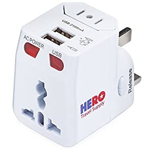 International Power Adapter Plug with 2 USB Ports by Hero Travel Supply – US Europe France UK Ireland Thailand China NZ Australia 100+ Countries – Built-in Device Safety Fuse – White