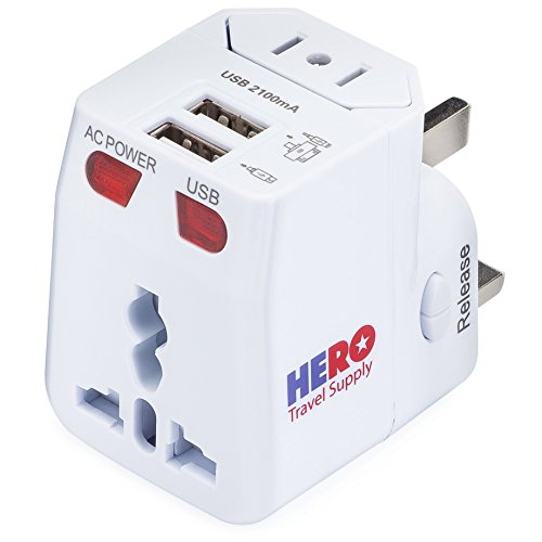 Universal Travel Adapter (2 USB Ports) - Power Plug for US Europe France UK Ireland Thailand China NZ Australia 100+ Countries - Individually Tested in The USA by Hero Travel -
