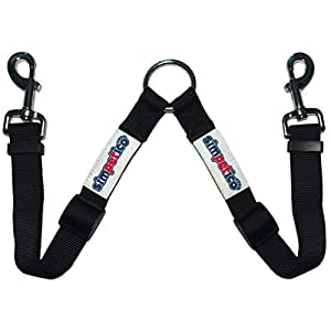 Simpetico Two Dog Leash Coupler - No Tangle Double Clip Leash Splitter Attaches to Collars and Leads to Walk Multiple Pets - Heavy Duty Adjustable Nylon with Metal Hardware for Large or Small Dogs