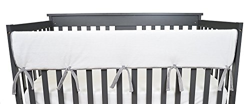 (American Baby Company 1 Pack Heavenly Soft Chenille Reversible Crib Rail Cover for Long Rail, Grey/White, Wide for Rails Measuring up to 18