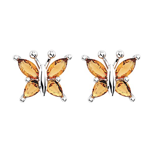 Sterling Silver Marquise Cut 1/2 Carat Natural Citrine Butterfly Stud Earrings with Push Backs, Dainty Butterfly Studs, Rhodium Plated Sterling Silver Stud Earrings for Women -