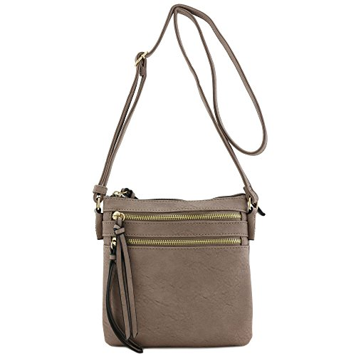 Functional Multi Zip Pocket Crossbody Bag (Taupe)