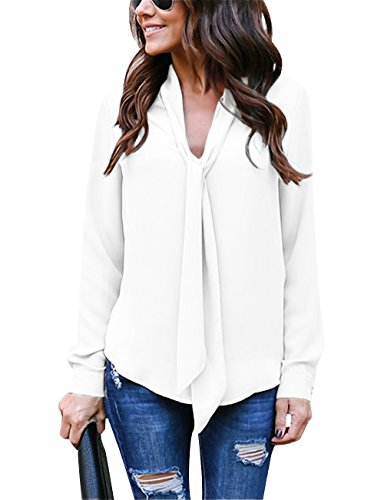 (Yidarton Women's Cuffed Long Sleeve Casual V Neck Chiffon Blouses Tops with Tie(Cream White,M))