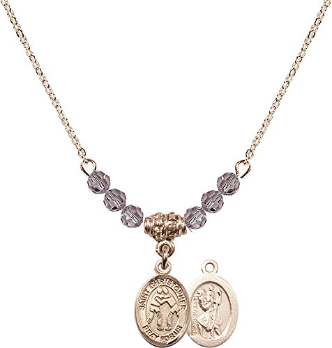18-Inch Hamilton Gold Plated Necklace with 4mm Light Amethyst Birthstone Beads and Gold Filled Saint Christopher/Wrestling Charm. by F A Dumont