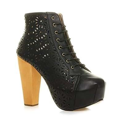 Ajvani Women's Lace Up Platform Wooden Block High Heel Ankle Boots Size 6 37