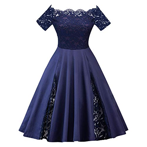 Flower cat Beautiful Dresse 2018 Europe and America Large Size Spring New Explosion Sexy Lace Word Shoulder Dress,Dark Blue,XL