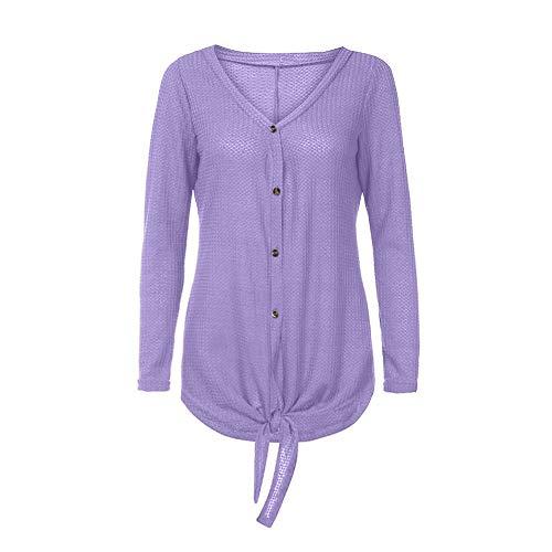 VJGOAL Noeud Henley Cravate Top Tops Violet Bouton Femmes Kaki Wing Bat Plain Femme Tunique Hiver Shirts Tricot LaChe Blouse Chic rX7rvPqw