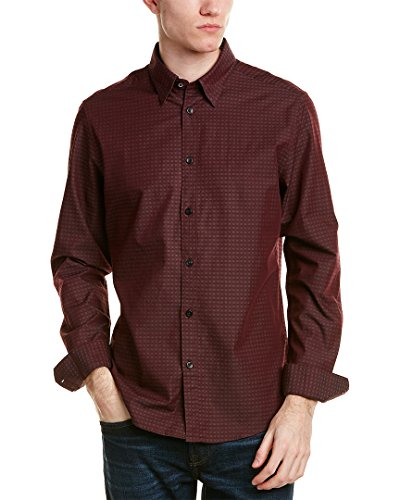 Ben Sherman Men's Long Sleeve Dobby Checkerboard Shirt Grape Large