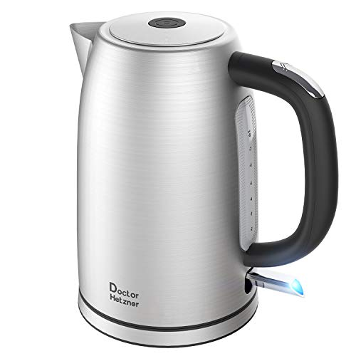Electric Kettle 1.7 Liter, Doctor Hetzner Stainless Steel Water Kettle, 1500W Fast Boil, Auto Shutoff, Boil-Dry Protection, Tea Kettle with British Otter Thermostat (British Electric Tea Kettle)