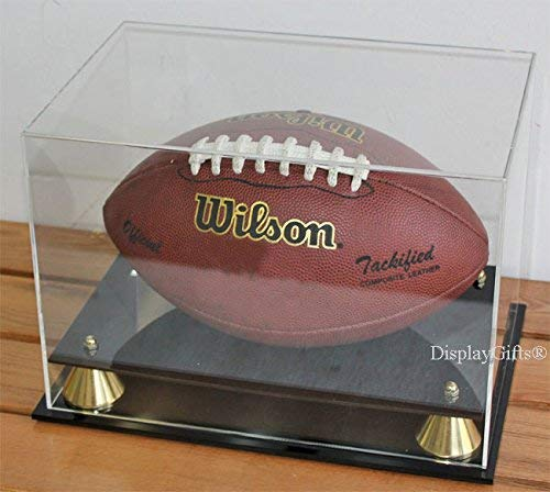 DisplayGifts UV Protection Football Display Case Holder Stand, (No Mirror, All 4 Sides Clear)