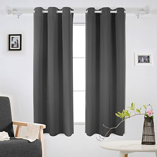 Dark Decor (Deconovo Room Darkening Window Drapes Thermal Insulated Grommet Blackout Curtains for Bedroom 42 Inch by 63 Inch Dark Grey 2 Curtain Panels)
