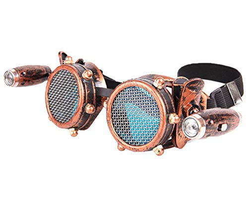 Barbed Wire Steampunk Goggles Vintage Retro Cosplay Welding Punk Gothic Glasses Blue Lens