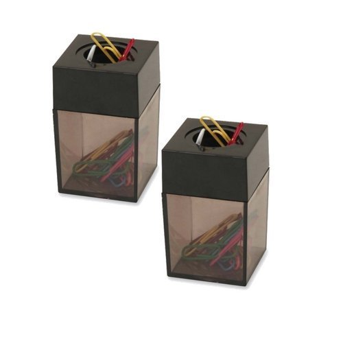 S.P. Richards Company Paper Clip Dispenser, Magnetic, 2 x 3 Inches, Smoke/Black (SPR11796) (2 Pack)