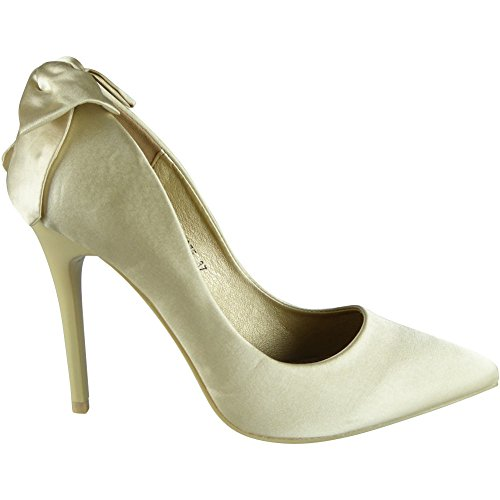 Womens Ladies Satin High Stiletto Heel Wedding Bridesmaid Party Court Shoes Size 3-8 Gold hhC93JQ8vZ
