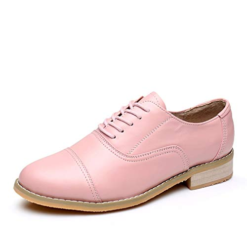Women Oxford Flat Spring Shoes for Woman Genuine Leather Flats Summer Brogues Vintage Laces Loafers Casual Sneakers Shoes,Pink,6.5