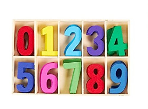 50 Pieces Classic Front Wooden Numbers Craft Numbers Puzzle Kids Learning Toy