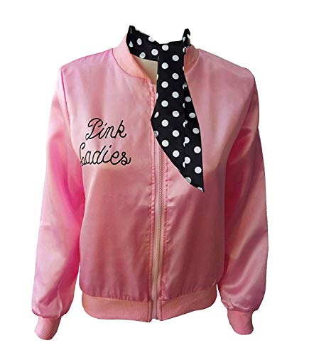 Ladies 50S Grease T Bird Danny Pink Satin