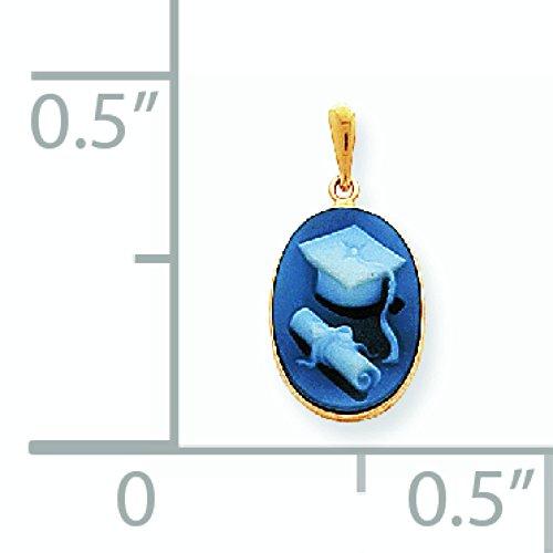 14 carats 13 x 18 mm Graduation Cap et pendentif en Agate JewelryWeb diplôme
