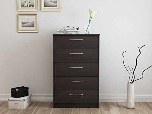 "Homestar EB108735Q Finch 5 Drawer Chest, 27.5"" x 15.63"" x 44"