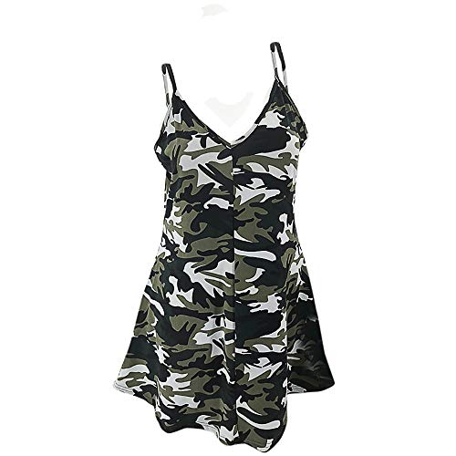 WKDYBD Women's Summer Casual V-Neck Camouflage Print Dress Sleeveless Halter Beach Skirt Mini Dress